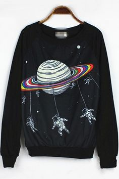 Cartoon Celestial Graphic Sweatshirt - OASAP.com