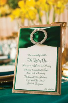 Green and gold invitation or menus