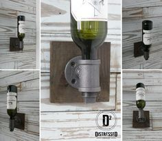 Iron Pipe Wine Holder by DesignDistressed on Etsy, $45.00