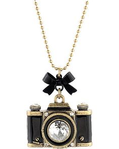 Betsy Johnson CAMERA PENDANT NECKLACE BLACK accessories jewelry necklaces fashion