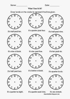 FUN & LEARN : Free worksheets for kid: แบบฝึกหัด Telling Time / What time is it? / วิธีการเขียนบอกเวลาเป็นภาษาอังกฤษ