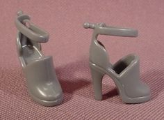 Barbie Doll Pair Of Grey Open Closed Toe High Heel Shoes With Ankle Strap That Opens
