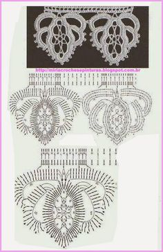 lots of edging charts Irish Crochet Patterns, Crochet Lace Edging, Crochet Irlandés, Freeform Crochet, Vintage Crochet, Crochet Doilies, Crochet Flower Tutorial, Crochet Collar, Tunisian Crochet