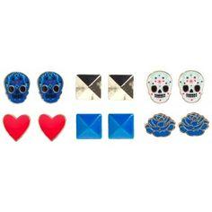 LOUNGEFLY BLUE/WHT SUGAR SKULL 6 PACK OF EARRINGS