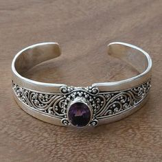 Amethyst and Sterling Silver Balinese Style Cuff Bracelet, 'Twilight Goddess' by Buana Amethyst Bracelet, Amethyst Jewelry, Boho Hippie, Silver Necklaces, Silver Jewelry, Silver Rings With Stones, Silver Work, Fantasy Jewelry, Boho Outfits