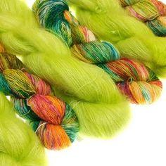 Summery colors on Kid Silk and Simply Merino for todays shop update #dibadufunnies #handdyedyarn #handdyed #Merino #yarn #yarnofinstagram #funnies #indiedyer #colorsforsummer
