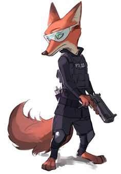 T, the Special Weapons And Tactics division. Every big-city police force has one, and Zootopia Zootopia Nick Wilde, Zootopia Nick And Judy, Zootopia Concept Art, Zootopia Fanart, Character Art, Character Design, Film D'animation, Disney Addict, Disney Fan Art