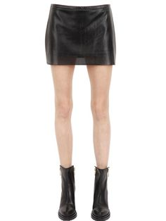 ESGIVIEN - PERFORATED STRETCH FAUX LEATHER SKIRT - LUISAVIAROMA - LUXURY SHOPPING WORLDWIDE SHIPPING - FLORENCE