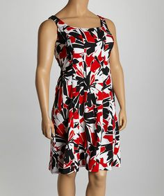 c4fcbd0f832 Another great find on  zulily! Black  amp  Red Abstract Floral Dress - Plus