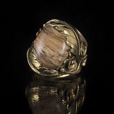 Brass Leaf Ring Native American Inspired Design, Tribal Ring, Gemstone Ring, Semi-Precious Stone Ring, Tribalik, Brown Agate (Code 31) by TRIBALIK on Etsy