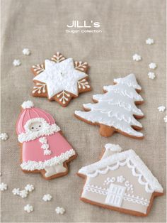 Ideas for cookie decorating Cute Christmas Cookies, Christmas Biscuits, Xmas Cookies, Iced Cookies, Christmas Cupcakes, Christmas Sweets, Cookies Et Biscuits, Cupcake Cookies, Christmas Baking