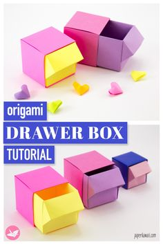 Origami Drawer Box Tutorial Make a useful origami drawer box! These origami drawers are perfect to keep your desk looking tidy and organised. No glue or cutting needed. The post Origami Drawer Box Tutorial appeared first on Paper Diy. Origami Design, Instruções Origami, Origami Fish, Useful Origami, Origami Envelope, Origami Ideas, Origami Stars, Origami Flowers, Simple Origami For Kids