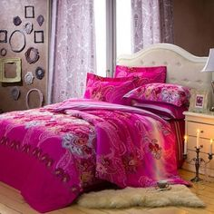 Hot Pink and Grey Western Paisley Print Bohemian Chic Baroque Style Full, Queen Size Bedding Sets