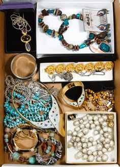Lot 561: Signed Costume Jewelry Assortment; Including necklaces, bracelets and earrings; some having rhinestones, tiger eye or turquoise; some signed including Judith Leiber, Judith Jack, Lewis Segal and Ciner