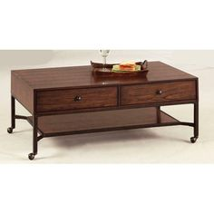 Have to have it. Progressive Furniture Lakeside Manor Rectangular Dark Birch Wood / Metal Castered Coffee Table $239.99