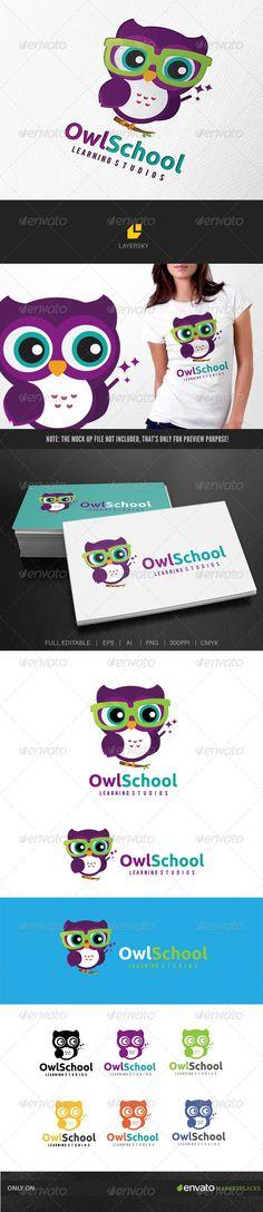 Owl School Logo Design Template Vector #logotype Download it here: http://graphicriver.net/item/owl-school/7865427?s_rank=133?ref=nexion