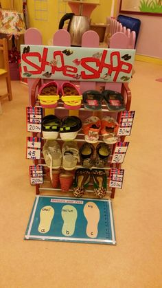 Shoe shop. Role play while incorporating Mathematics.