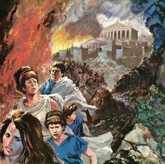 Our magnificent picture is a painterly illustration of the terrified human exodus from Athens after the beautiful city was set alight by the invading Persian army. This act of supreme vandalism remained the greatest regret of Xerxes the Great, who went on to lose the Battle of Salamis.