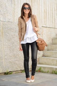 love the leather and the flowy top to make it girly still!
