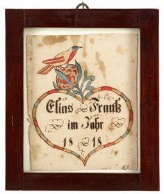 "Fraktur: Bookplate for Elias Frank  Inscribed, ""Elias Frank im Jahr 1818,"" 5 1/2 in. x 4 3/8 in."