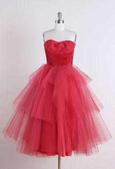 1950's Tulle and Velvet Strapless Dress