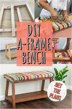 Build a simple yet modern A-frame DIY upholstered bench with shoe storage underneath with easy to follow plans and tutorial! Great for entryways and mudrooms. #diyfurniture #shoestorage #AnikasDIYLife Kreg Jig Projects, Beginner Woodworking Projects, Diy Woodworking, Bench With Shoe Storage, Diy Bench, Furniture Projects, Diy Furniture, Upholstered Bench, Wood Working For Beginners