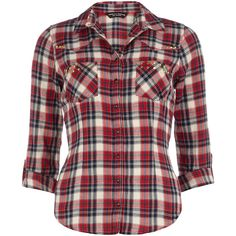 Dorothy Perkins Red and ivory stud check shirt (84 DKK) ❤ liked on Polyvore featuring tops, shirts, blouses, blusas, red, checkered pattern shirt, cotton shirts, red checked shirt, studded top and dorothy perkins