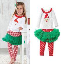 2pcs Autumn Baby Girl Clothes Set kids Christmas Santa Claus Long Sleeve Tops T-shirt+Tutu Skirt Long Pants Xmas Outfit Clothing(China (Mainland))