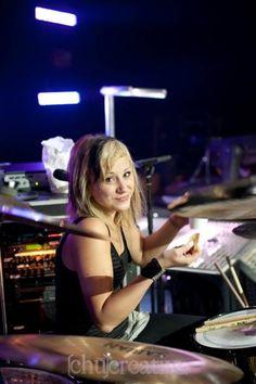 Jen Ledger from Skillet. She is THE best drummer EVAR!!!!!