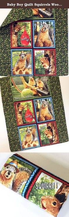 "Baby Boy Quilt Squirrels Woodland Nursery. This quilt features comical squirrels on a woodsy background of leaves, pinecones and acorns. The side borders and backing are a soft cozy flannel. Very Cute! This quilt measures 33""- 40"" it is a good size for baby to snuggle with at home or to take anywhere and everywhere. Great for a play mat and tummy time too. I used warm and natural cotton batting between the layers and machine quilted in a freehand meandering. The edges are finished with a..."