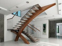 I am loving these very sculputal stairs Modern glass stairs, glass balustrade, modern stairs, custom design Interior Stairs, Interior Architecture, Interior Design, Diy Interior, Stairs Architecture, Interior Modern, Amazing Architecture, Rustic Stairs, Wood Stairs