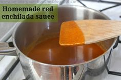 Homemade red enchilada sauce - Amuse Your Bouche Great sauce, but if just using Cayenne powder cut back on the serving about half or it's really spicy. Also tomato sauce works real well if you don't have tomato puree. Veggie Recipes, Mexican Food Recipes, Great Recipes, Vegetarian Recipes, Cooking Recipes, Favorite Recipes, Veggie Food, Yummy Recipes, Healthy Recipes