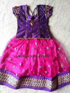Pink Purple Net Lehenga - Indian Dresses