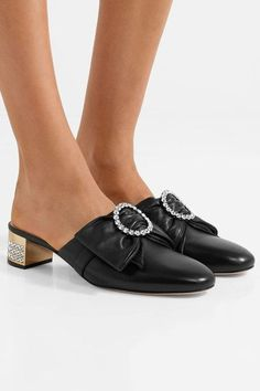 Gucci - Crystal-embellished Leather Mules - Black