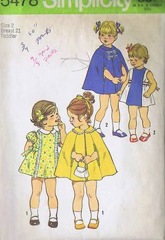 Toddler Girls Dress and Cape Pattern    The dress patten has back zipper and tie ends caught in side front seams.  View 1 with contrasting Peter Pan collar and embroidered eyelet edging trim has short set-in sleeves gathered with elastic casings.  Sleeveless and collarless View 2 with contrasting front section has button trim and flat woven braid trimmed tie ends.  The lined Cape has collar and top-stitched arm openings in side seams.  View 1 has Embroidered eyelet edging trim.