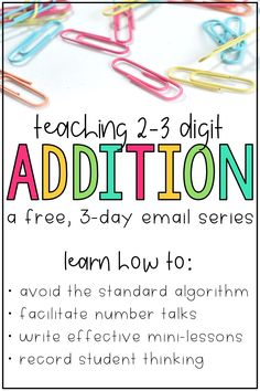 Learn how these math centers & math strategies are for Common Core math standards. Students will work on various 2-digit & 3-digit addition strategies such as number lines & decomposing numbers to solve three digit addition with regrouping & without regrouping. This FREE email series includes student activities & mini lessons designed for 2nd grade students. They are fun and include puzzles, games, and help students use place values to solve 3-digit addition and 3-digit subtraction.