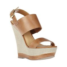 WARMTHH COGNAC LEATHER women's sandal high wedge - Steve Madden