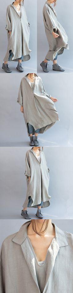 Women cotton linen casual loose fitting summer dress