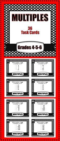 Multiples, 36 task cards -grades 4-5-6