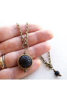 Full Moon Pendant Planet Pendant Black Lava Stone by KapKaDesign