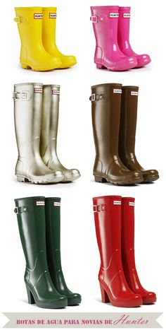 Nuestra selección de botas de agua Hunter para novias ¡We love rain! #weddingshoes #bridalshoes #zapatosdenovia