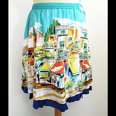 Summer Scenic Print Cotton Skirt by Garnet Hill NWOT. Fully lined. Elastic waist with drawstring and side pockets. Garnet Hill Skirts A-Line or Full