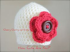 Crochet Baby Girl Hat  Ivory with Red Flower and by HowCuteAreYou, $16.50