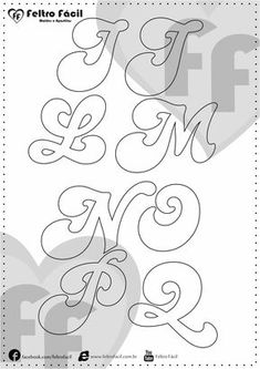 Cartamodelli Alfabeto per feltro e pannolenci Stencil Lettering, Free Printable Bookmarks, Bookmark Template, Candy Theme Birthday Party, Alphabet Templates, Baby Letters, Couples Tattoo Designs, Letter Stencils, Felt Decorations