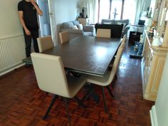 Extendable version of our Xenon dining table with Steel Dark ceramic top and Black frame. CANDY dining chairs in Ultra Taupe and Black legs. Delivered to our client in Kent. Dining Chairs, Dining Table, Leather Bed, Sofa Design, Modern Bedroom, Contemporary Furniture, Sideboard, Taupe, Candy