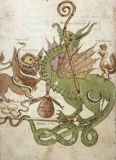 Cambridge, Harvard University, Houghton Library, MS Typ 0157, f. 96v (Griffin, snake, dragon and rooster). Felice Feliciano, Stramoti amorosi (third quarter, 16th century).