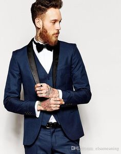 Side Vent Slim Fit Groom Tuxedos Shawl Collar Men'S Suit Navy Blue Groomsman/Bridegroom Wedding/Prom Suits Jacket+Pants+Vest Rental Tuxedos For Prom Tuxedos 2015 From Elsameaning, $82.87| Dhgate.Com http://www.99wtf.net/men/mens-fasion/latest-mens-suit-style-fashion-2016/