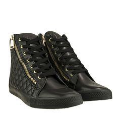 W16-W-ILIANNA/Q/ - Μαύρο All Black Sneakers, High Top Sneakers, High Tops, Wedges, Shoes, Fashion, All Black Running Shoes, Shoes Outlet, Fashion Styles