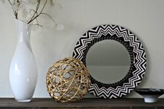 DIY Nate Berkus Inspired Black and White Chevron Accent Mirror
