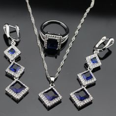 Square Blue Sapphire Jewelry Set Women 925 Silver Necklace Pendant Earrings Ring